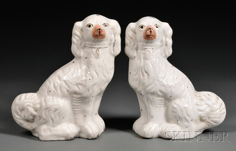 Pair of Victorian Staffordshire Pottery Spaniels
