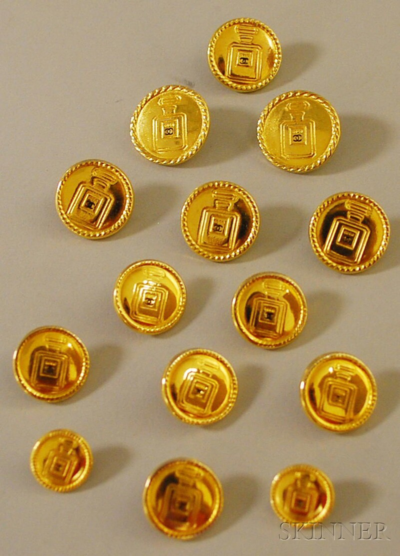 Set of Fourteen Gold-tone Chanel Buttons
