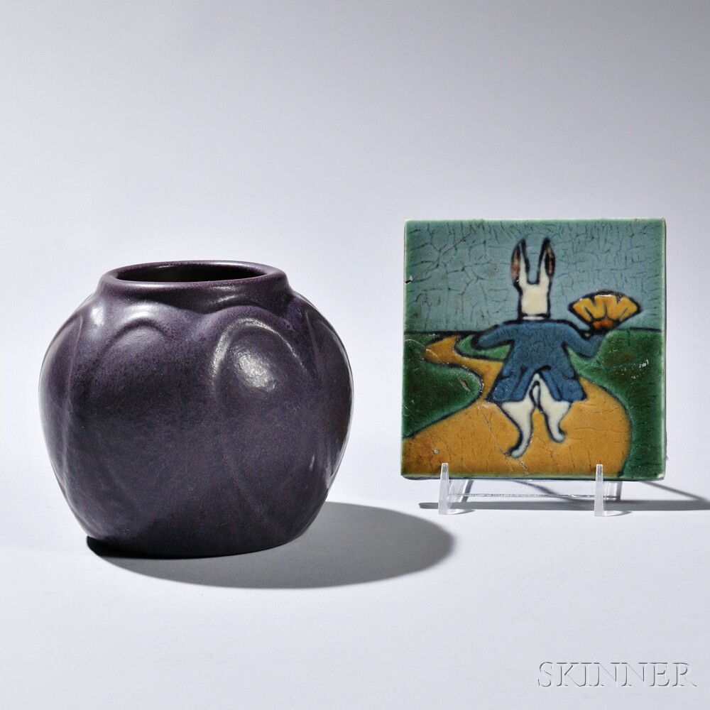 C. Pardee Works Alice in Wonderland Tile and a Van Briggle Vase