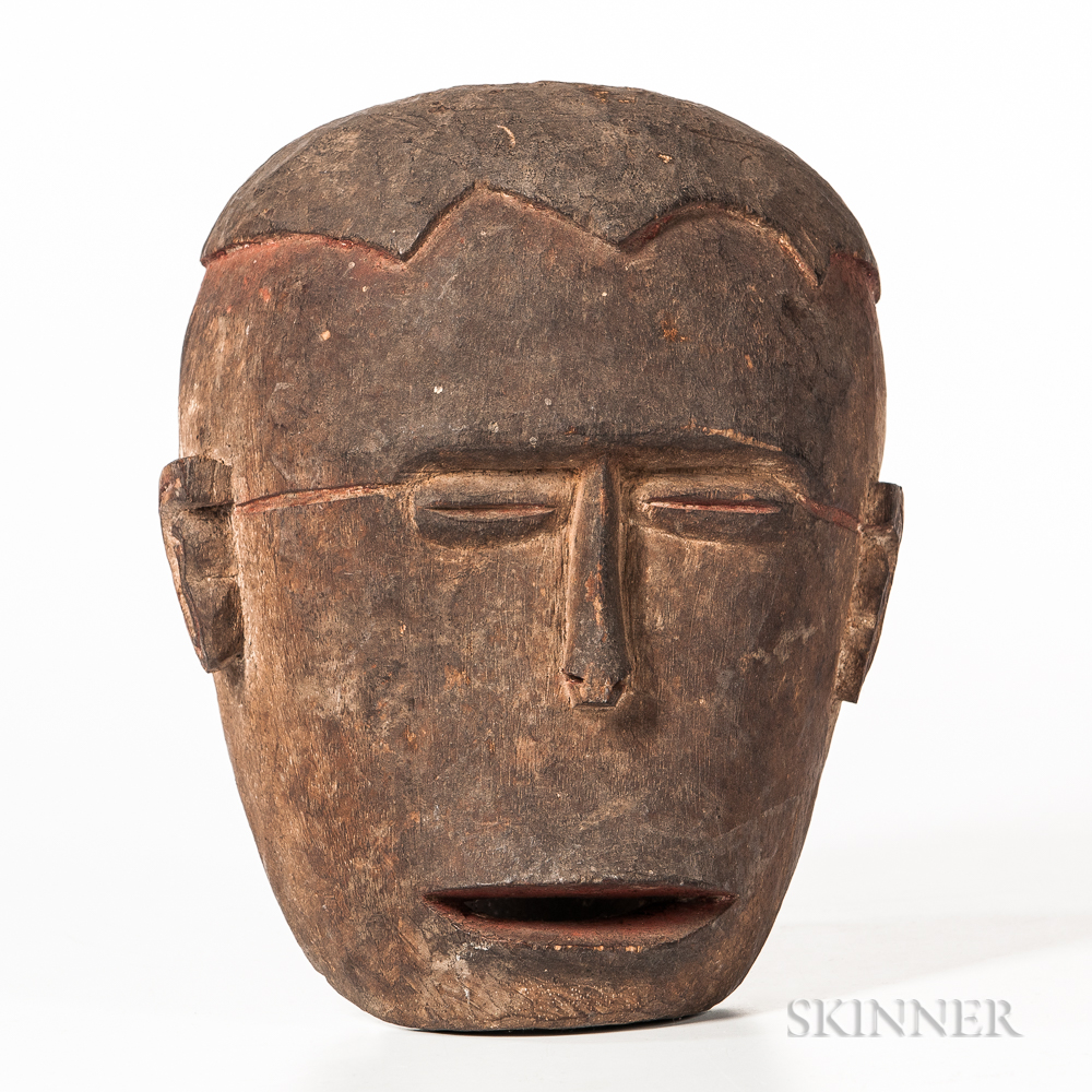 """Asmat Carved Wood Ritual """"Replacement"""" Head"""