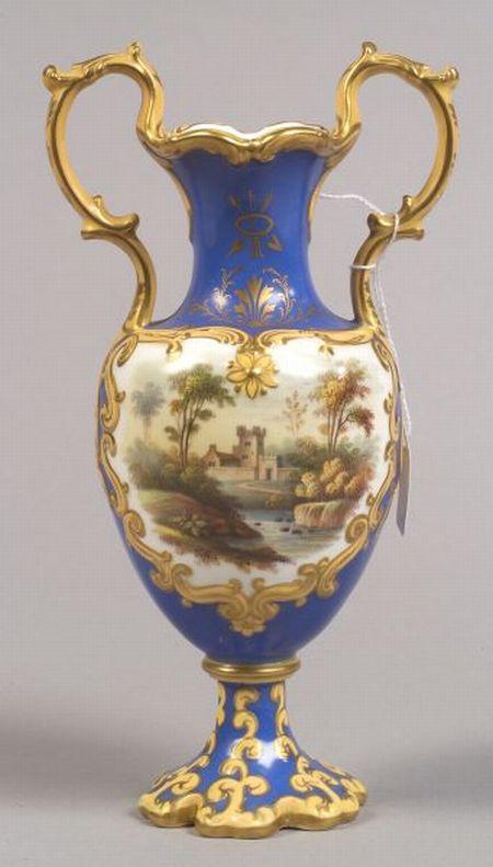 Handpainted Porcelain Two-handled Vase