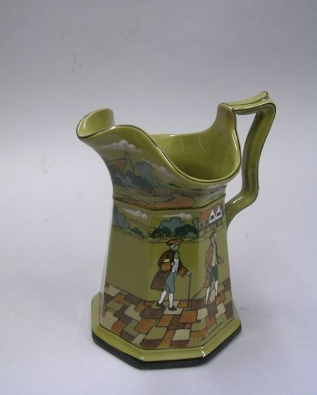 "1908 Buffalo Pottery Deldare Ware ""This amused me, with a cane superior air""   Pitcher"