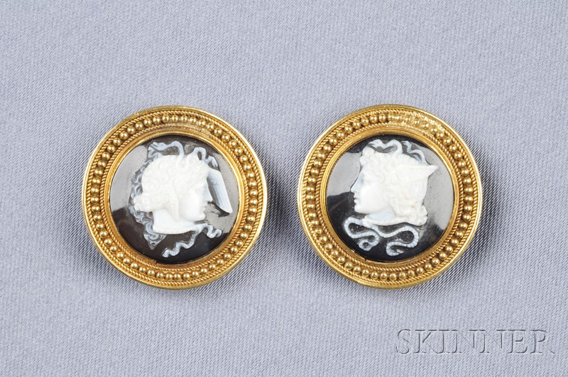 18kt Gold and Hardstone Cameo Earclips
