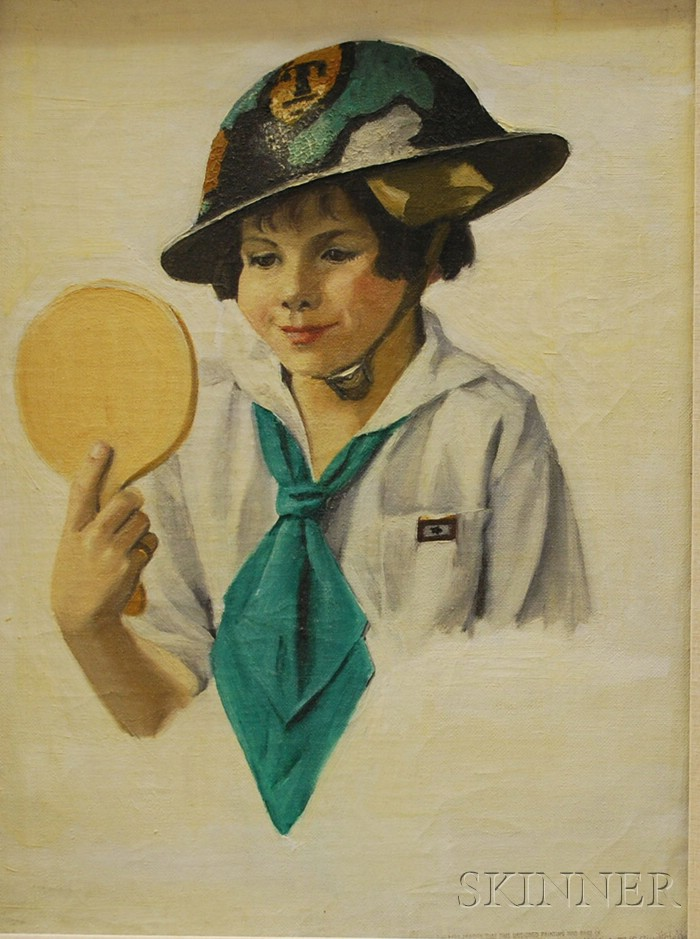 Marguerite Stuber Pearson (American, 1898-1978)      Portrait of a Young Girl in Air Raid Warden's Helmet.