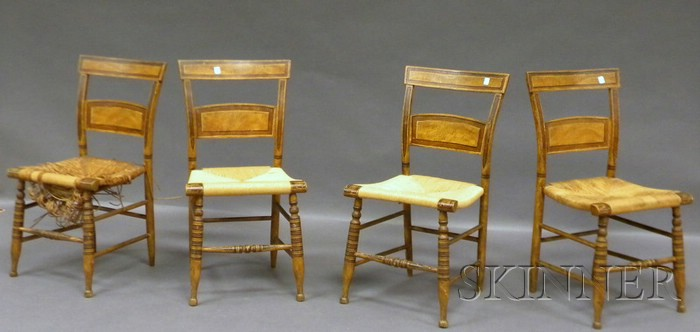 Set of Four Paint-decorated Wood Side Chairs