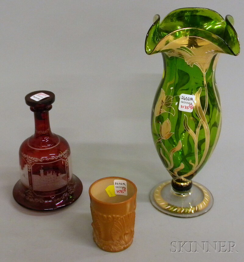 Three Pieces of Late Victorian Art Glass