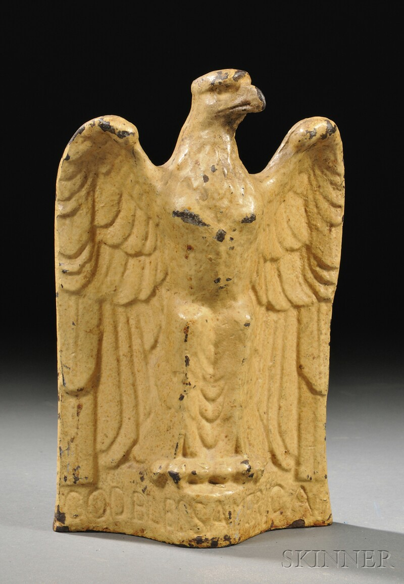 Yellow-painted Cast Iron Eagle Doorstop