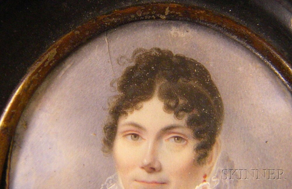 Two Framed Miniature Watercolor on Ivory Portraits