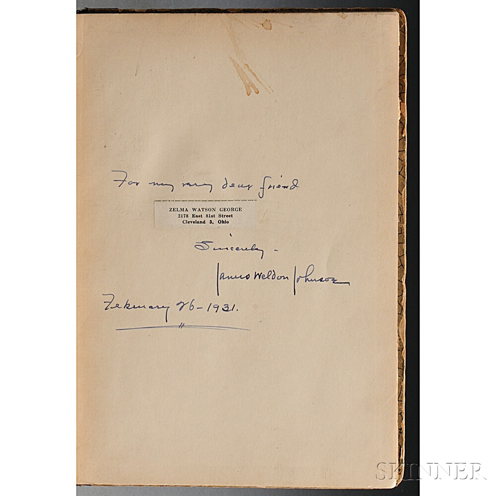 Johnson, James Weldon (1871-1938) God's Trombones, Seven Negro Sermons in Verse  , Inscribed Presentation Copy.