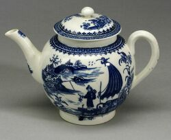 Caughley Porcelain Blue Transfer Printed Teapot and Cover