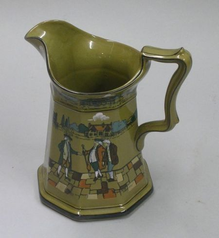 "1923 Buffalo Pottery Deldare Ware ""To advise me in a whisper, To spare an old broken   soldier,"" Pitcher"