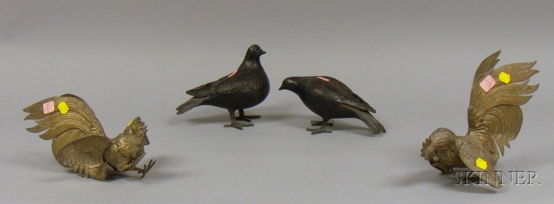 Pair of Ornamental Silvered Metal Fighting Cocks and a Pair of Black-painted Cast Iron Pigeons.