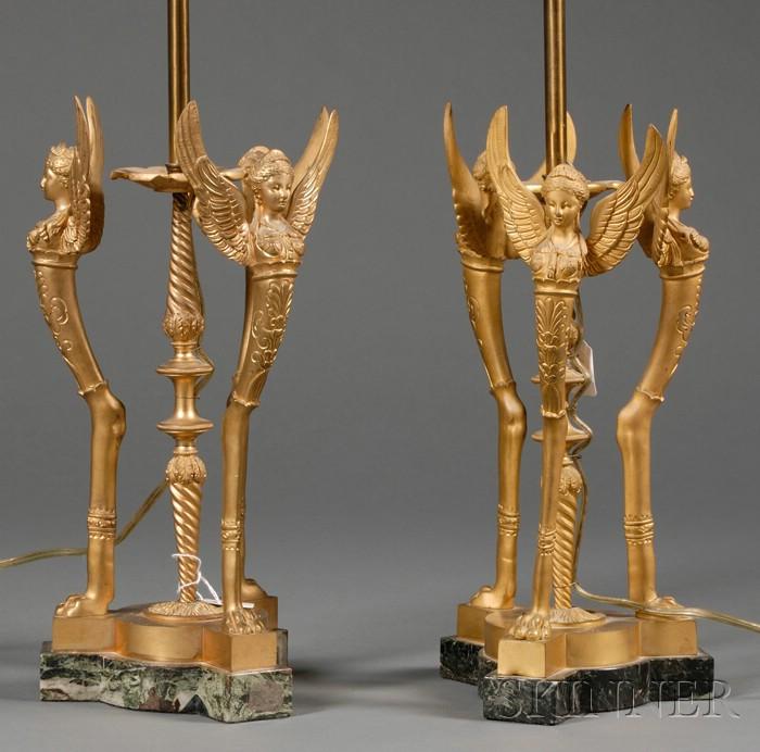 Pair of Empire Revival Bronze Lampbases