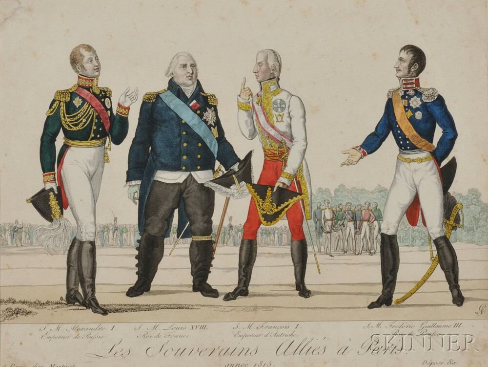 Hand-colored Engraving of European Leaders at the Treaty of Paris