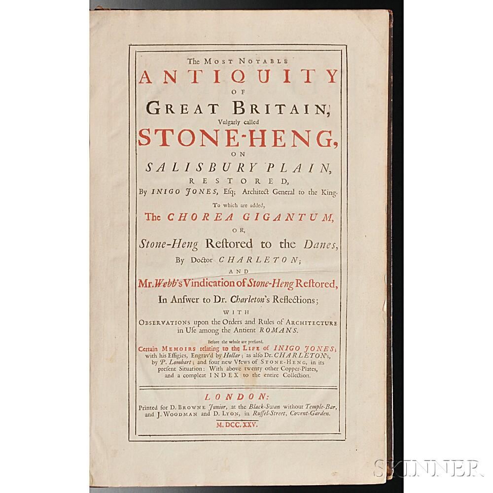 Jones, Inigo (1573-1652), Walter Charleton (1619-1707), and John Webb (1611-1672) The Most Notable Antiquity of Great Britain, Vulgarly