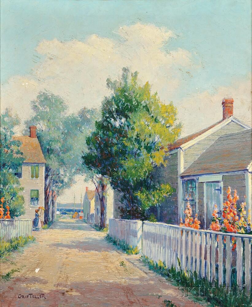 Grif Teller (American, 1899-1993)      Nantucket Summer Streetscape