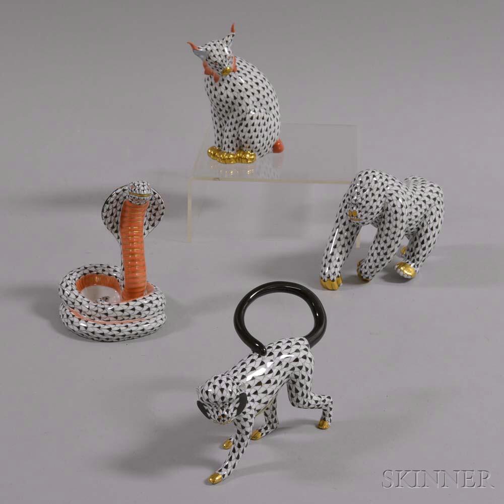 Herend Porcelain Bobcat, Monkey, Cobra, and Gorilla