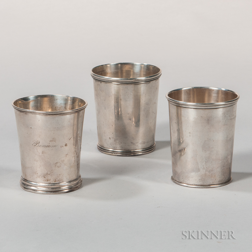 Three American Coin Silver Julep Cups