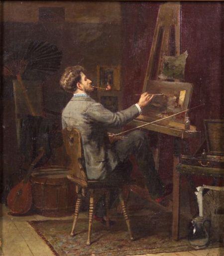 Jacob Simon Hendrik Kever (Dutch, 1854-1922)    The Studio Artist at Work