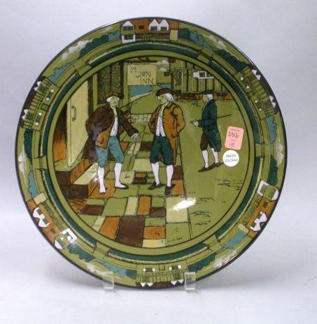 """1908 Buffalo Pottery Deldare Ware """"Ye Lion Inn"""" Plaque"""