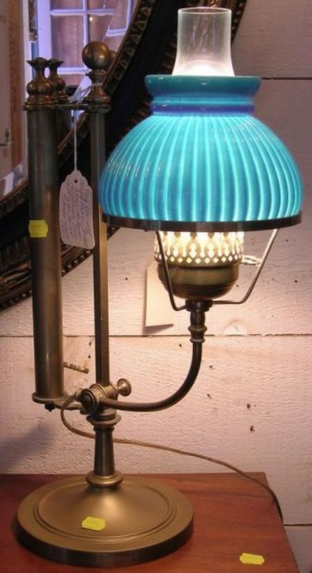 Brass Adjustable Student Lamp with Painted Glass Shade.