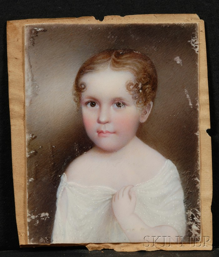 American School Portrait Miniature of a Child Wearing a White Gown