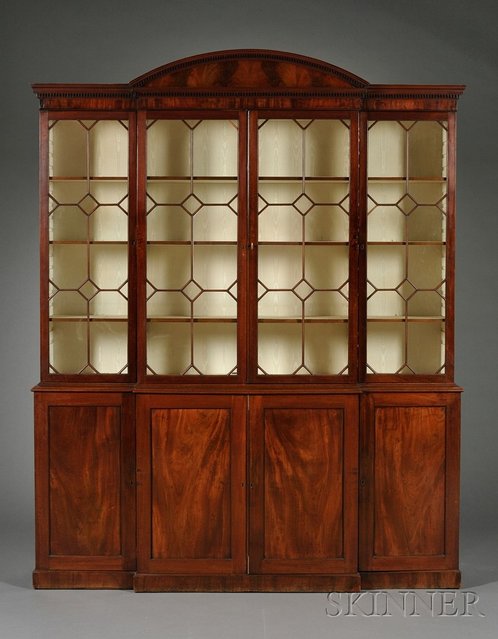 George III Style Mahogany Breakfront Bookcase Cabinet