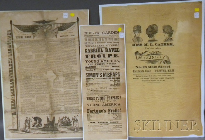 Three 19th Century Printed Advertisements and Broadsides