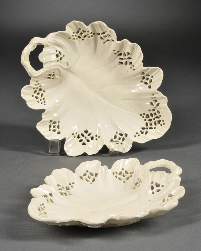 Two Leeds Creamware Leaf-shaped Dishes