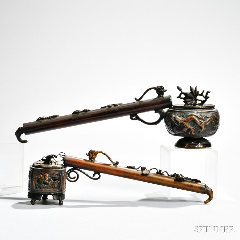 Two Bronze Ink and Pen Holders