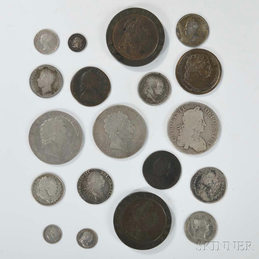 Nineteen English Silver and Copper Coins