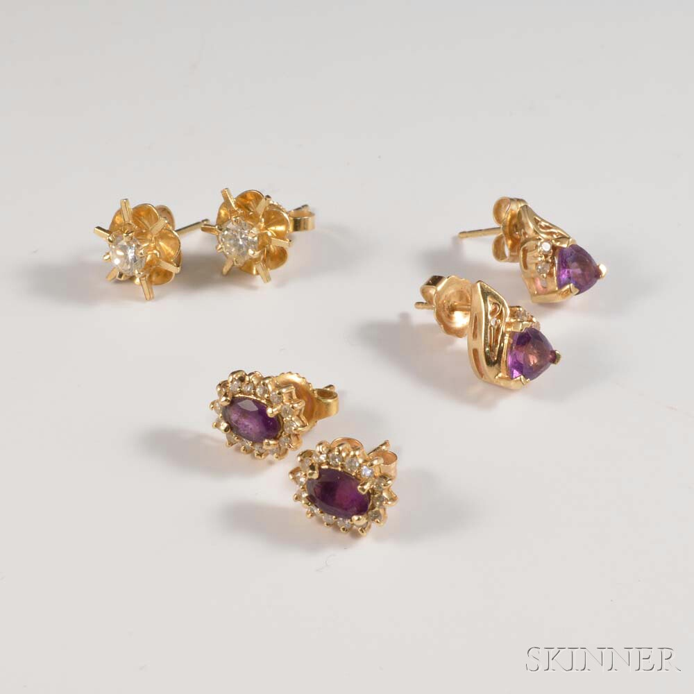 Three Pairs of 14kt Gold Gem-set Earrings