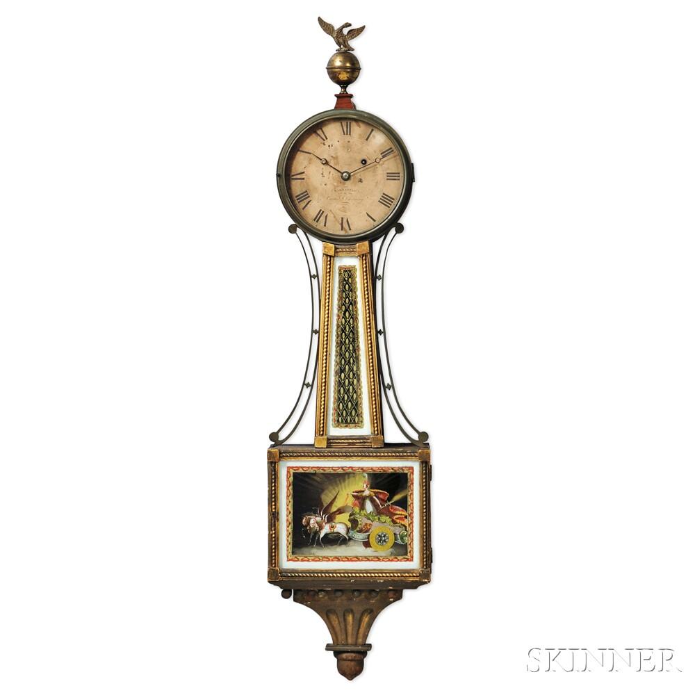 Rare Gilt-gesso and Mahogany Veneer Presentation Patent Timepiece