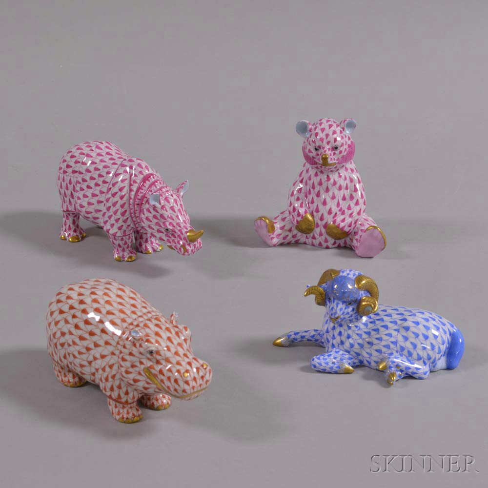 Herend Porcelain Ram, Rhino, Hippo, and Bear