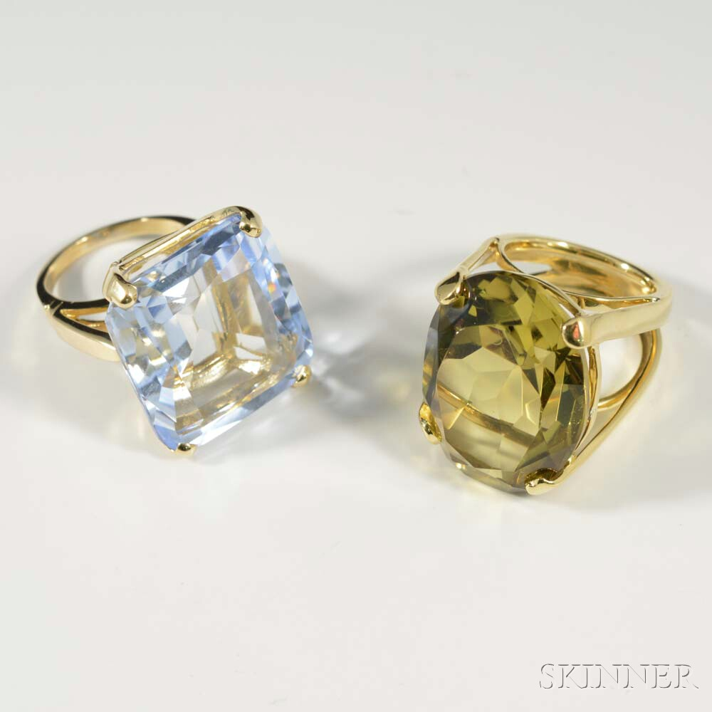 Two Gold Cocktail Rings