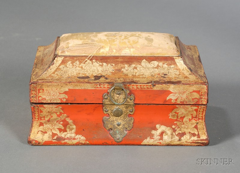 Chinoiserie Decorated Red Lacquer Sewing Box