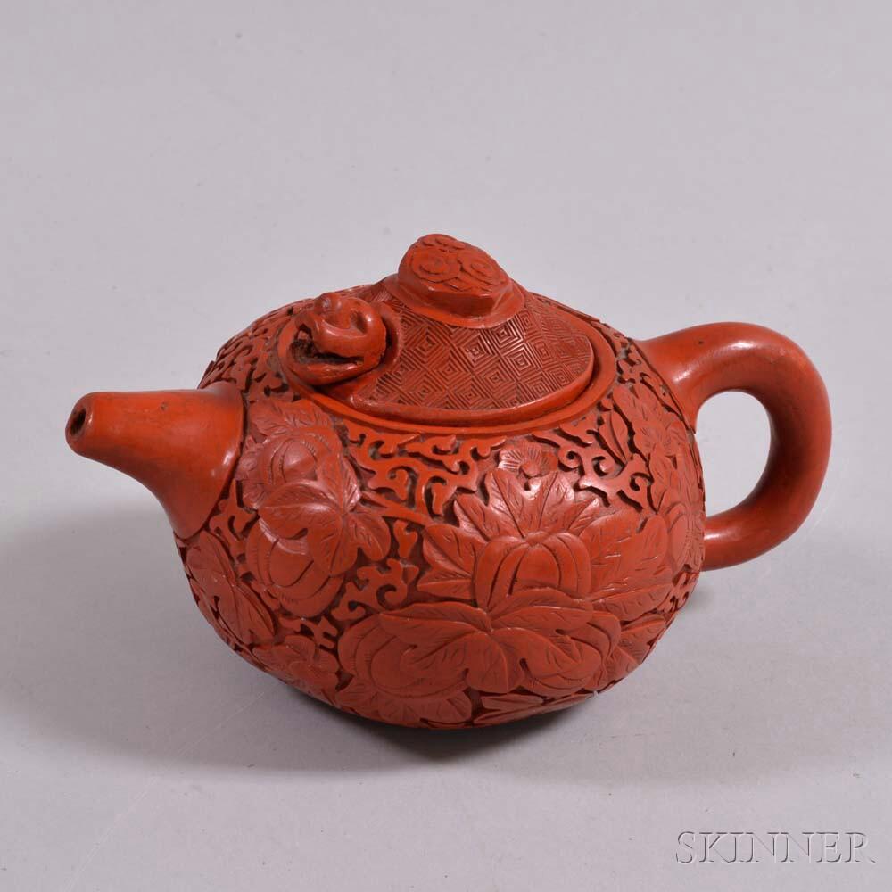 Yixing Teapot with Faux Cinnabar Exterior