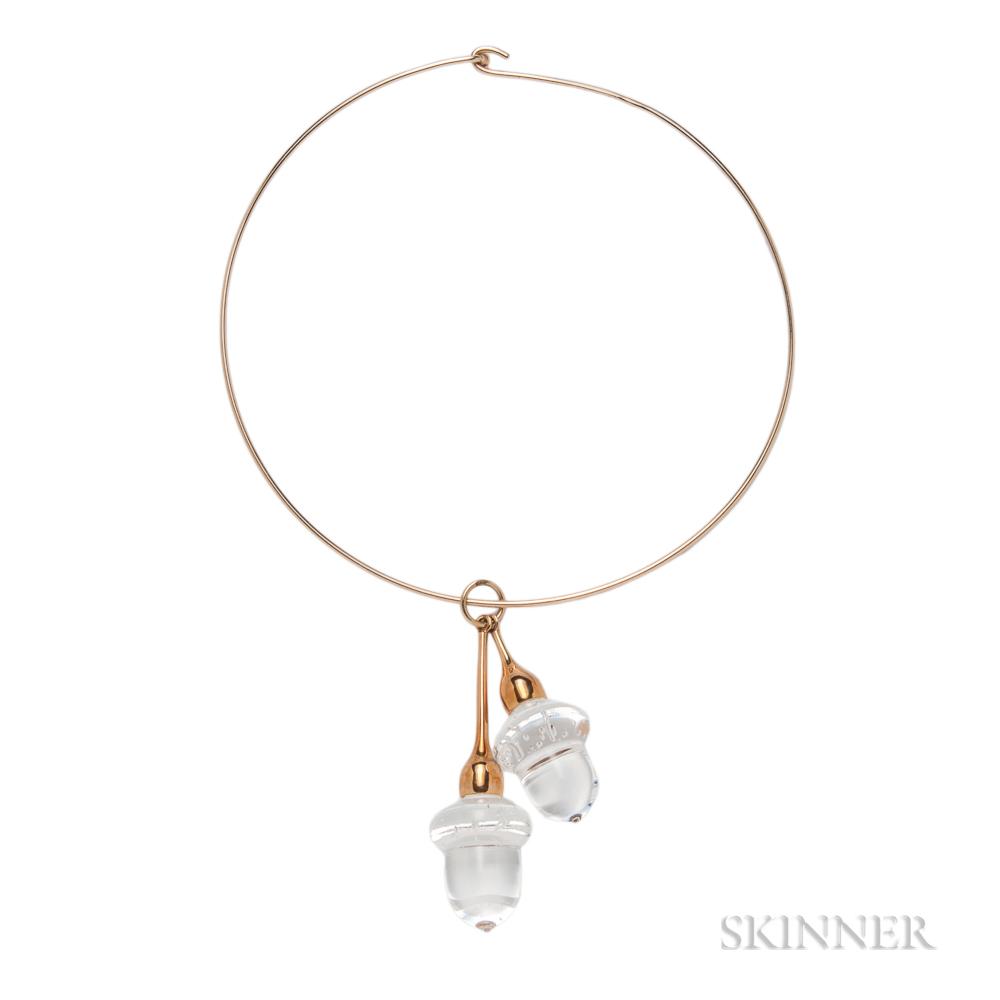 Glass Acorn Pendant, Steuben