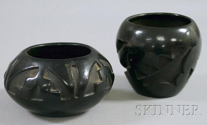 Two Santa Clara Black-on-Black Pottery Bowls