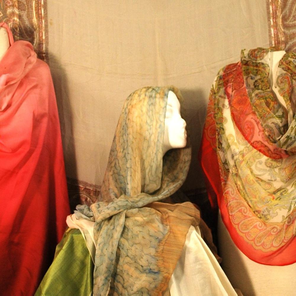 Six Continental Mostly Sheer Silk Chiffon Scarves/Shawls