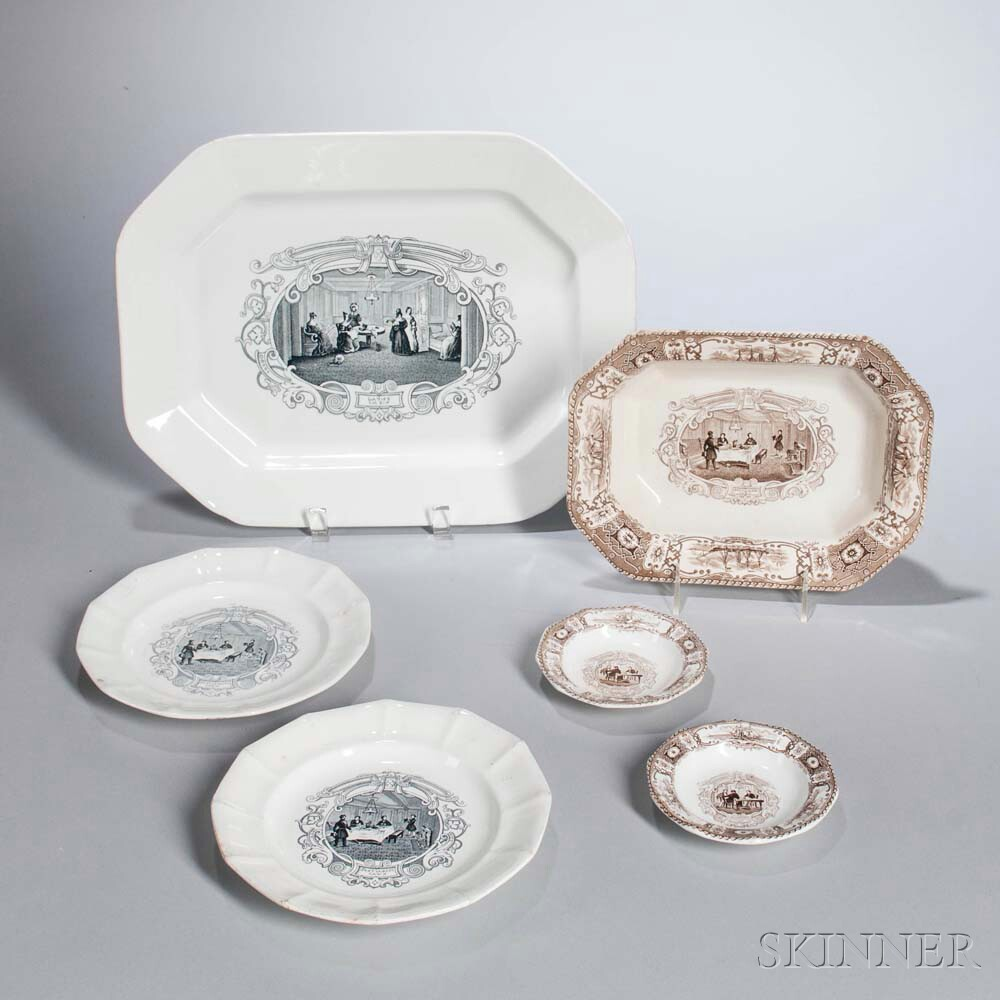 Six Staffordshire Transfer-printed Boston Mails Table Items