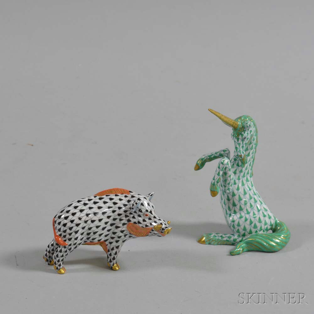 Herend Porcelain Unicorn and a Boar