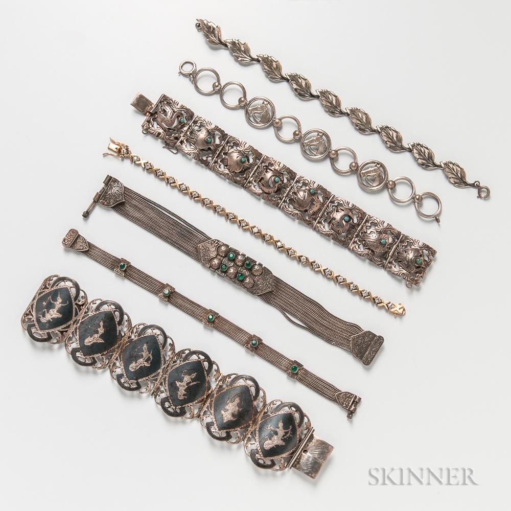 Group of Silver Bracelets
