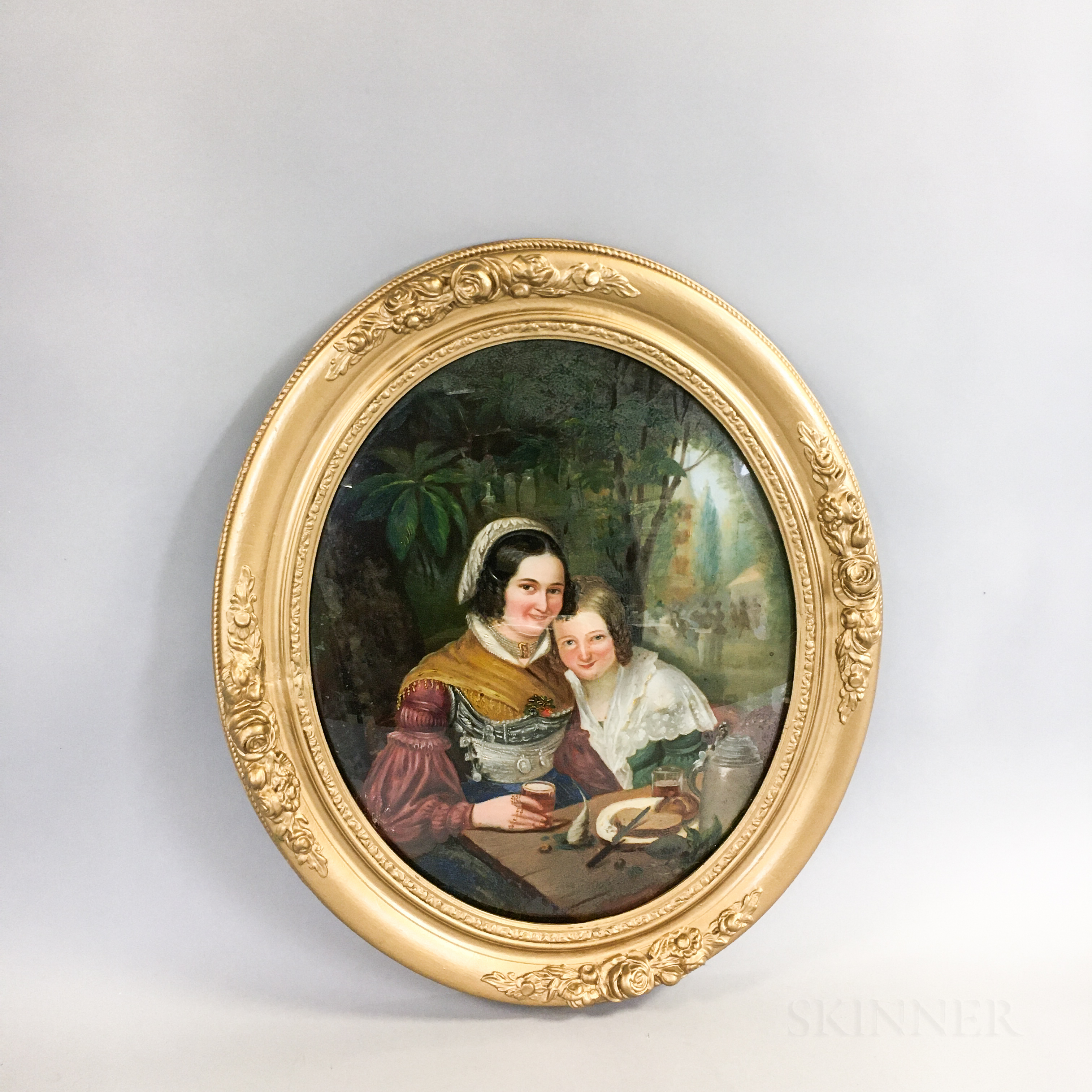 Framed Reverse-painted Glass Portrait of Two Women