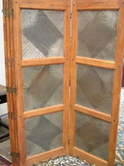 French Fruitwood and Pressed Tin Five-Panel Floor Screen.