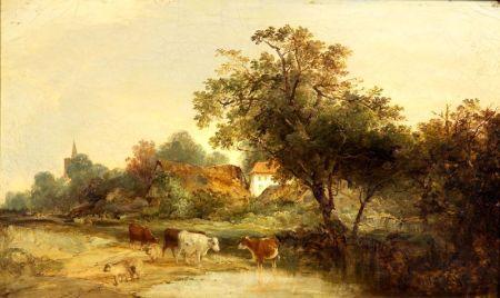 British School, 19th Century    Cattle Watering