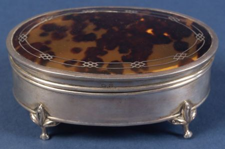 George V Shell Mounted Silver Trinket Box