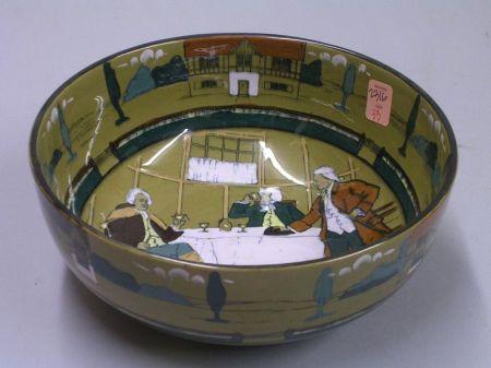 "1908 Buffalo Pottery Deldare Ware ""Ye Village Tavern"" Fruit Bowl"