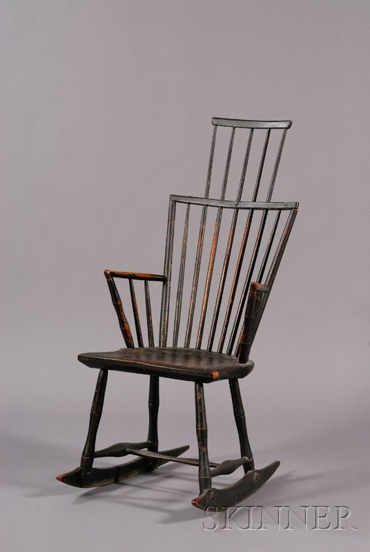 Windsor Black-painted Comb-back Rocking Armchair