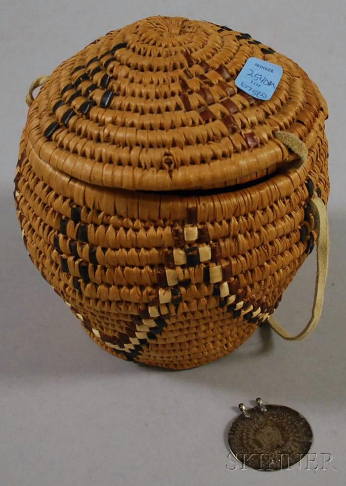 Ethnographic Silver Medallion and Basket.